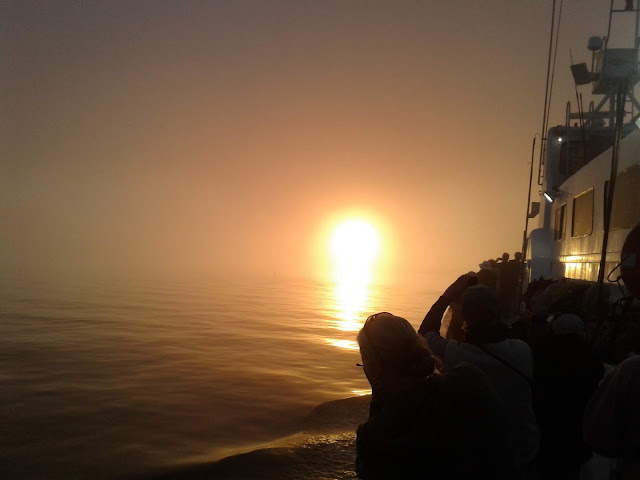 Foggy ocean sunrise
