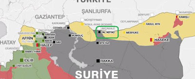 Turkish occupation attack with artillery the vicinity of Tal Abyad and Ayn Issa
