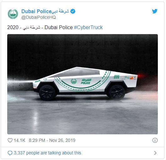 شرطة دبي تضيف سيارة Cybertruck إلى أسطولها