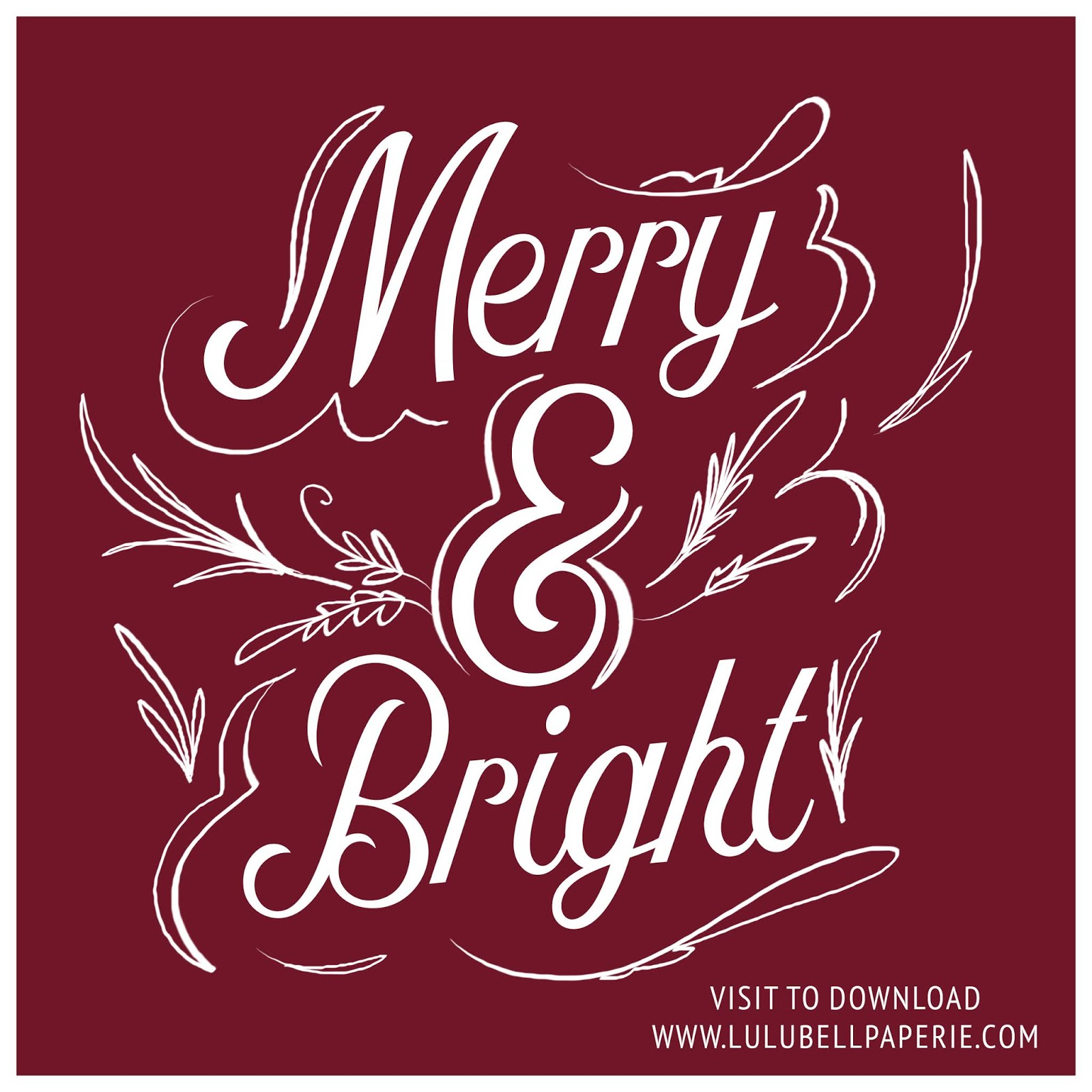 Free digital download Merry and Bright hand drawn typography art print. 8x8 inch size, is perfect to print from home for your holiday and Christmas decor.