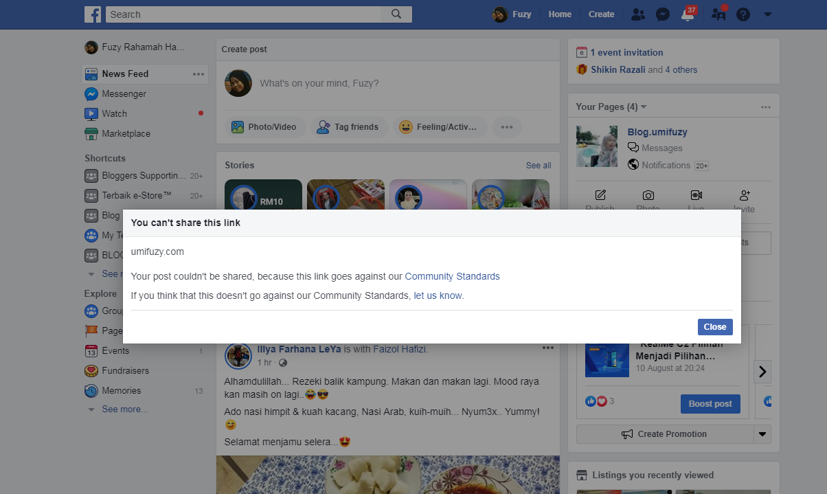 Adakah Ada Penyelesaian Bila Link Blog Dinafikan di Facebook Dan Instagram ?
