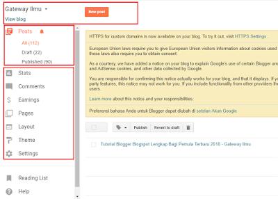 Fungsi Menu Menu Di Blogger.com - Gateway Ilmu