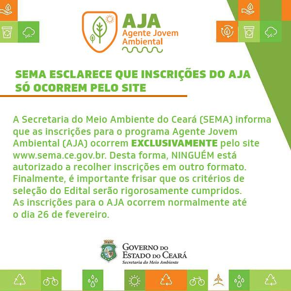 Inscrições do Agente Jovem Ambiental (AJA) só ocorrem pelo Site da SEMA do Ceará