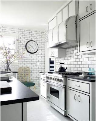 dapur unik dengan aksen garis