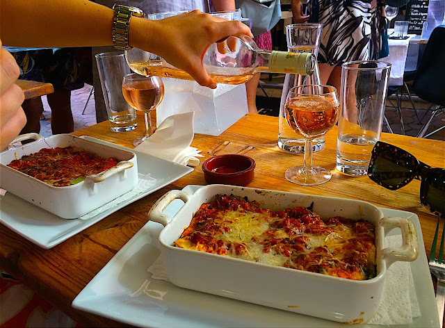Lasagne and wine in Nice, France
