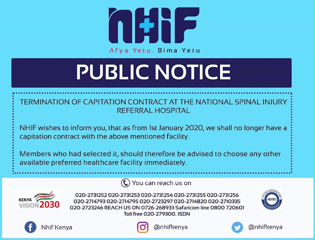 NHIF terminates Contact with the National Spinal Injury referral hospital
