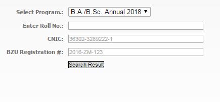 BZU Multan-B.A./B.Sc. Results 2019 Online