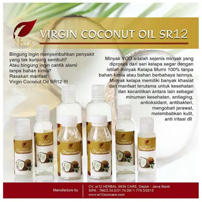 VCO Capsule Virgin Coconut Oil SR12 Herbal Skincare VICO Capsule SR12