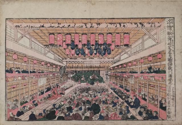 江戸時代の芝居小屋を遠近法を使って臨場感たっぷりに描いた浮世絵
