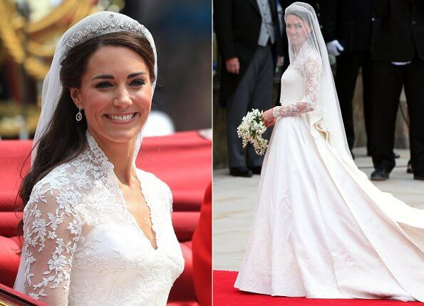 Royal School of Needlework Embroidery Studio created the bespoke lace on the wedding dress of Kate Middleton and Queen Elizabeth