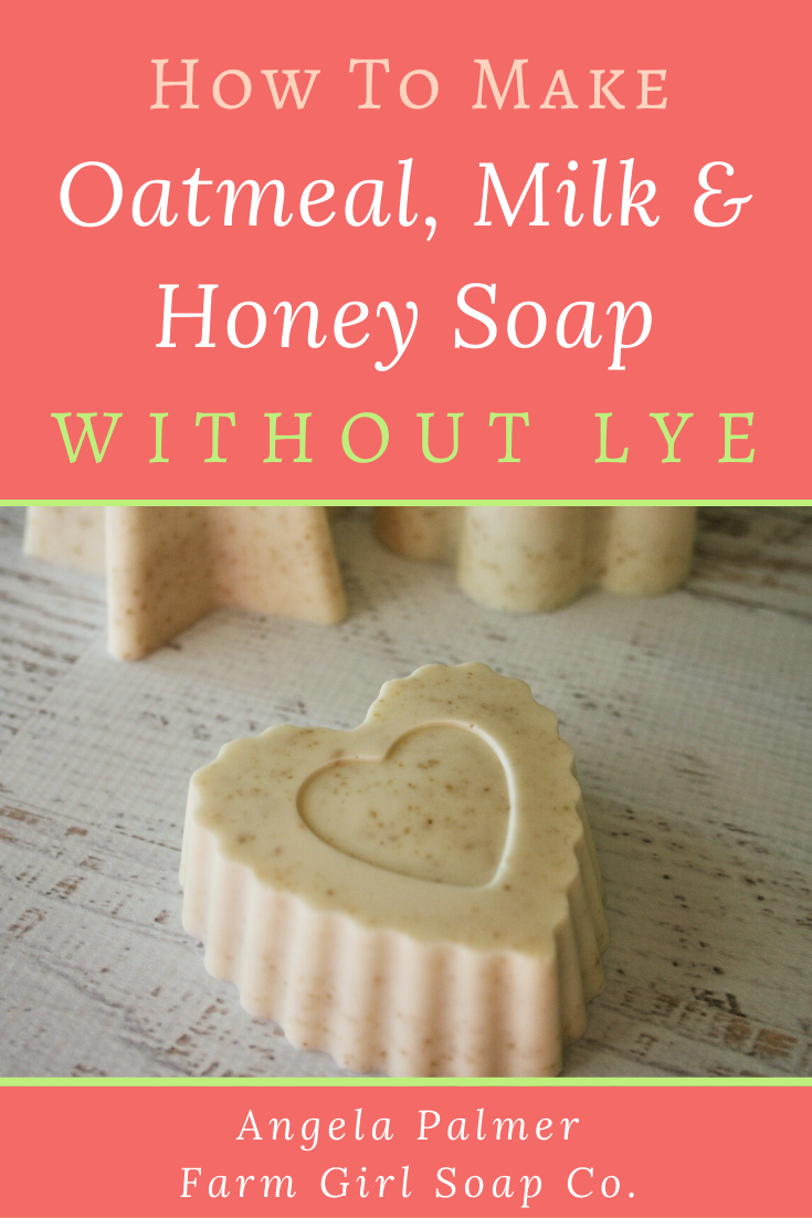 Learn how to make soap without lye with this super easy oatmeal, milk, and honey recipe. It's the perfect DIY soap recipe for beginners! By Angela Palmer at Farm Girl Soap Co.