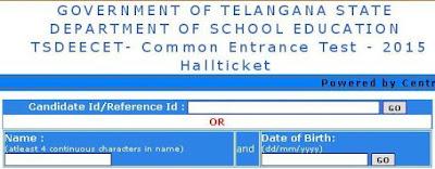 TS DEECET 2015 Hall ticket
