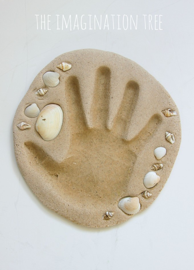 Hand print keepsake craft using sand clay