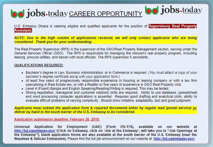 U S Embassy Dhaka Jobs Circular 2019   www bd usembassy gov