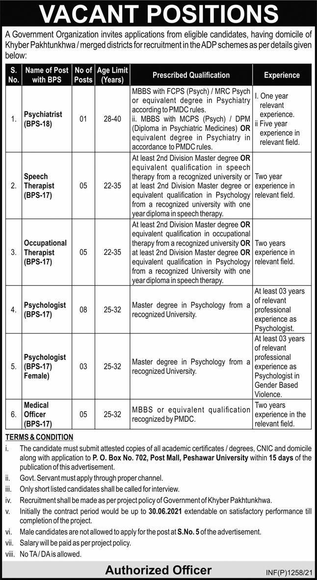 Government Organization Jobs 2021 For Medical Staff in Peshawar KPK