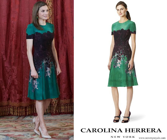 Queen Letizia wore Carolina Herrera floral print dress from Pre Fall 2015 collection