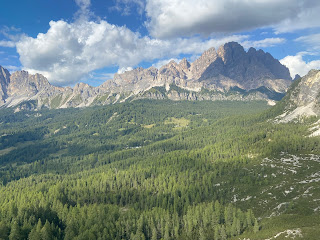 View north toward Cristallo Group with Monte Cristallo in shadow.