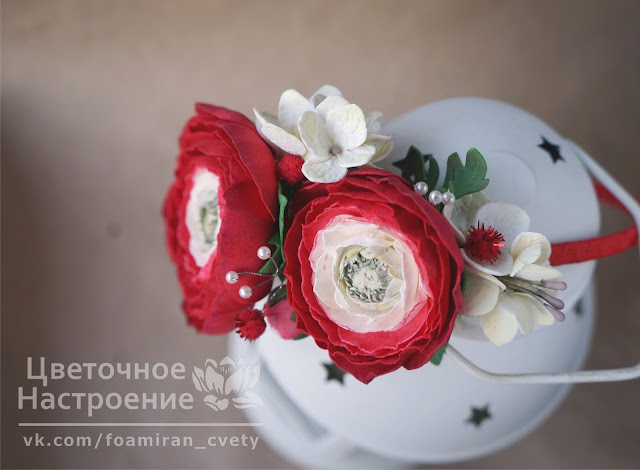 красные цветы из фоамирана