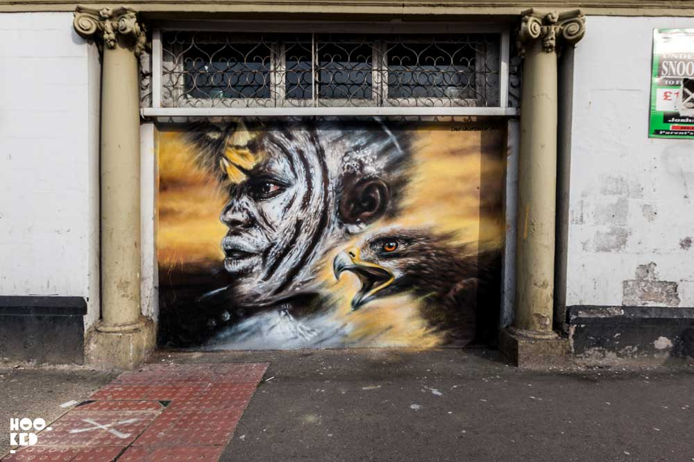 Dale Grimshaw London mural in Walthamstow with Wood Street Walls Collective