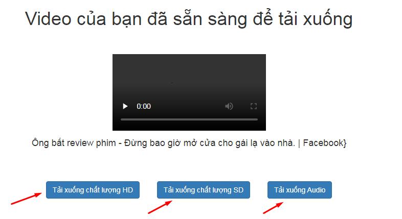 Chọn chất lượng video tải xuống hoặc chỉ tải MP3