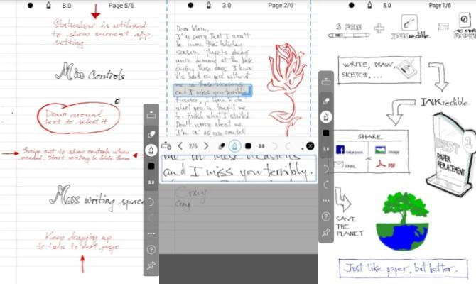 INKredible واحد فقط مهمة واحدة: لخلق تجربة الكتابة المعلقة على لوح. فإنك لن ترى أي ضوابط واجهة المستخدم أو أزرار، مجرد ورقة بيضاء من الورق ليكتبوا.