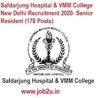 Safdarjung Hospital & VMM College New Delhi Recruitment 2020- Senior Resident (178 Posts)