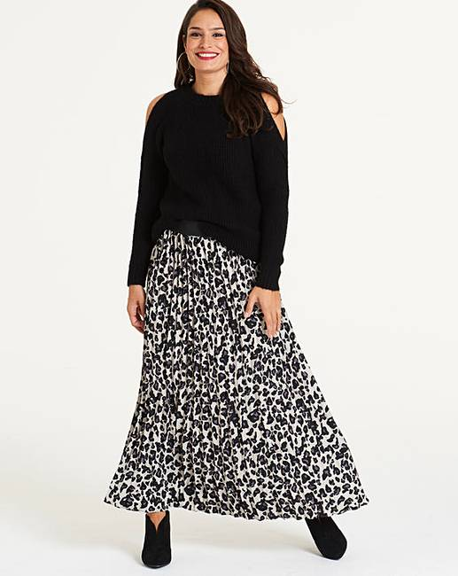 JD Williams Leopard Print Pleat Maxi Skirt