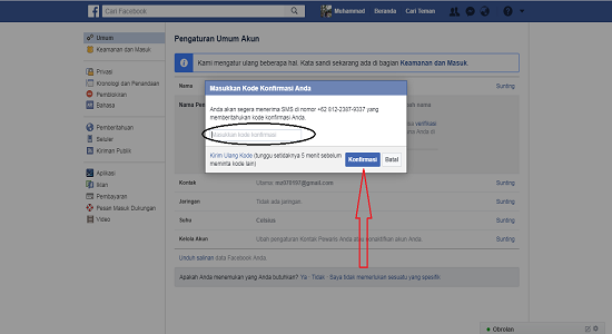 Verifikasi kode username facebook