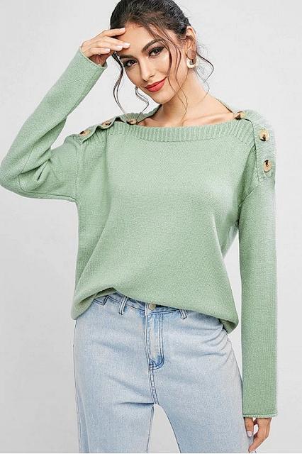 Womens Dark Sea Green Color Sweaters