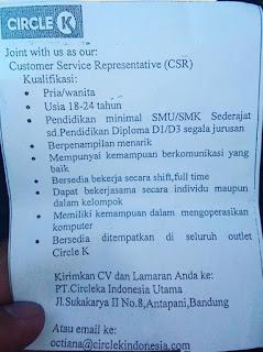 Lowongan Kerja Circle K Bandung Terbaru 2020