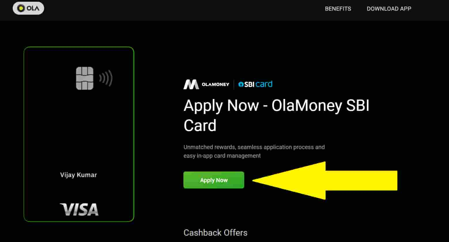 How to apply OLA Money SBI Card credit card for free