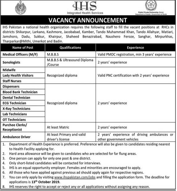 Integrated Health Service (IHS) Jobs 2019