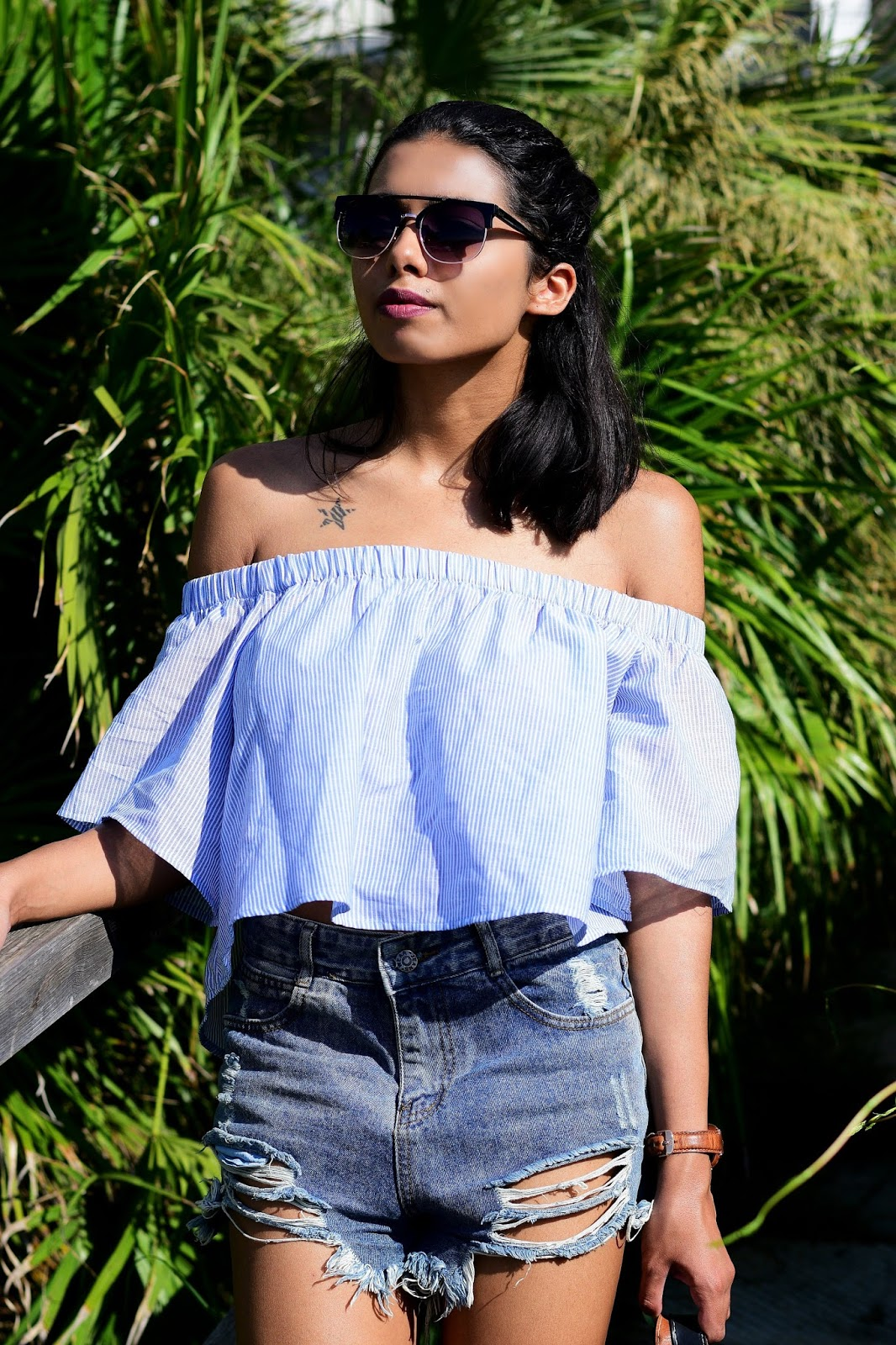 summer party outfit ideas with off shoulder top