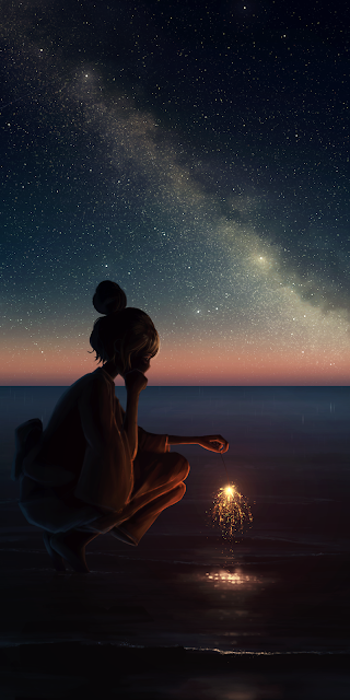 Watching the firework in the starry night