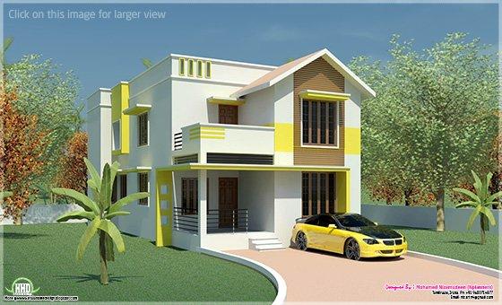 Minimalist villa exterior in 1900 kerala home for 1900 sq ft house plans kerala