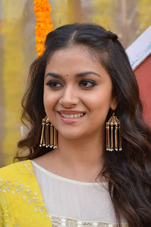 Keerthy Suresh in Yellow With Cute and Lovely Smile for New Movie Launch