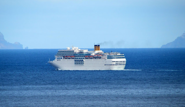 the cruise ship sets sail from the port of Funchal