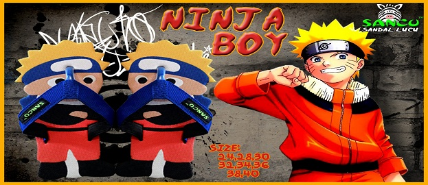 Sandal Lucu Sancu Motif Ninja Boy, grosir sandal sancu, agen sandal sancu