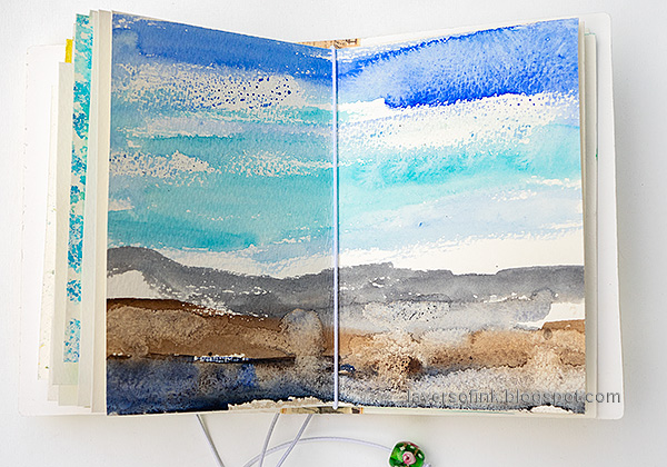 Layers of ink - Junk Journal Tutorial by Anna-Karin Evaldsson. Watercolor landscape.