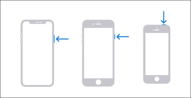 رسم تخطيطي يوضح أزرار الأجهزة التي تحتاج إلى الضغط عليها لإغلاق جهاز iPhone.