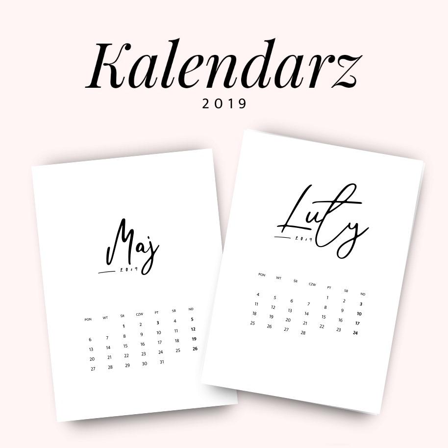 Kalendarz 2019 do druku, do pobrania za darmo - minimalistyczny