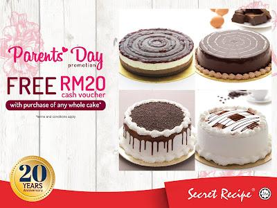 Secret Recipe Malaysia Free Cash Voucher Parents' Day Promo