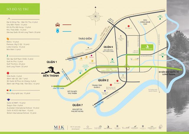 Vị trí khu Biệt thự - Nhà phố Park River Side quận 9 HCM