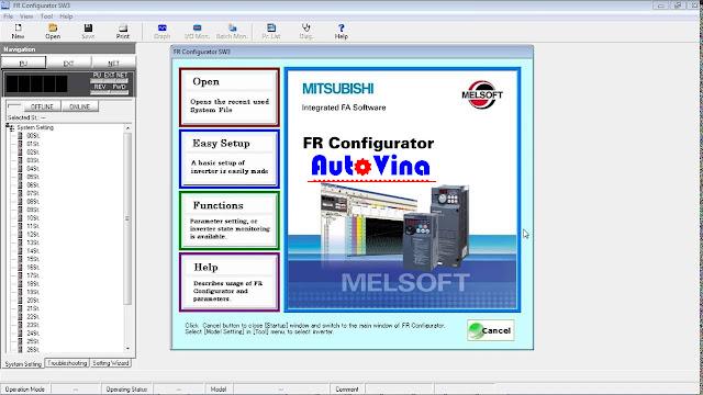 FR Configurator SW3 kết nối biến tần Mitsubishi với máy tính