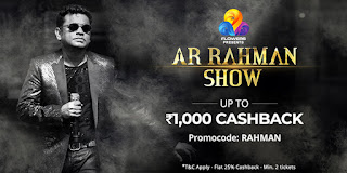 Paytm AR Rahman Show Tickets Cashback Offer (23 - 24 Jun 2018 | LIVE in Kochi )