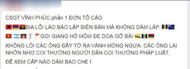 Tự xưng XHĐ gọi điện nhờ xóa status tố cáo CSGT Nguyễn Văn Trường Vĩnh Phúc