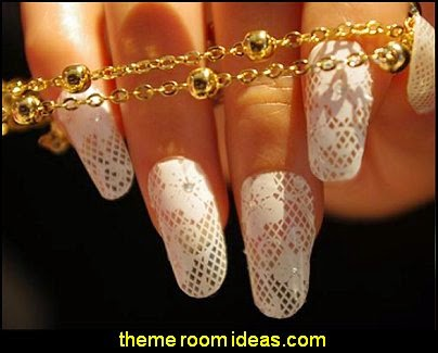 Lace Design Nail Wraps Acrylic Decals Nail Art Stickers Rhinestone Decorations White Lace Nails Stickers