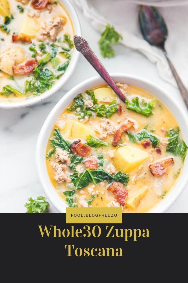 A rich, creamy, filling Zuppa Toscana that's healthy and Whole30. With tender potatoes, kale, easy homemade Italian sausage, and bacon, this Whole30 soup recipe is loaded with flavor and the perfect one-pot meal.