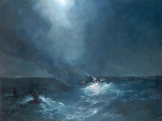 an Ivan Konstantinovich Aivazovsky painting of stormy ocean spirits