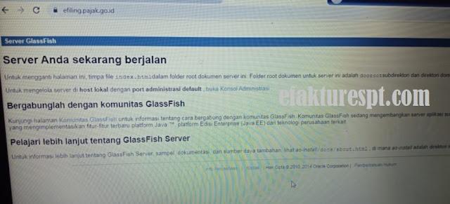 eFiling Error Glassfish Server, Your Server Is Now Running